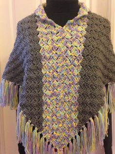 Crochet Grey and Pastel Poncho with Collar by HandmadebyHeikeHeart