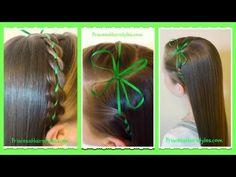 Ribbon Braid Headband and Clover Bow, St. Patrick's Hairstyle - YouTube
