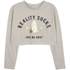 Take Me Away Cropped Graphic Sweatshirt ($24) ❤ liked on Polyvore featuring tops, hoodies, sweatshirts, white top, cropped sweatshirt, graphic tops, crop top and white sweatshirt
