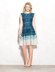 Petite Abstract Scuba Fit-and-Flare Dress