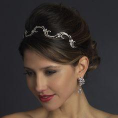 Antique Silver Rhinestone Bridal Vine Headband Headpiece 923