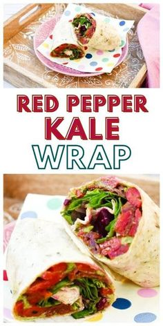 Vegan Red Pepper & Kale Lunch Wrap.A tasty vegan lunchtime wrap packed with flavours including red pepper and kale. Perfect for a work or school lunch box Vegan Lunch Box, Vegan Lunch Recipes, Vegan Lunches, Kale Recipes, Vegetarian Lunch, Wrap Recipes, Delicious Vegan Recipes, Tasty, Vegan Food