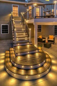 Are you looking for deck lighting ideas to transform your patio or backyard? Discover here how to transform your patio with alluring deck lighting ideas. Future House, Deck Design, Modern House Design, House Goals, My Dream Home, Beautiful Homes, Outdoor Living, Outdoor Spaces, Outdoor Retreat