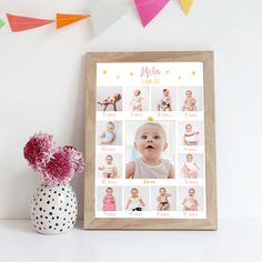 Affiche photos – un an – thème étoilé rose First Birthday Theme Girl, Birthday Gifts For Girls, Baby Birthday, First Birthday Parties, First Birthdays, Birthday Cakes, 1st Birthday Pictures, Foto Baby, Baby Memories