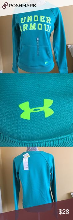 NWT Under Armour Cold Gear Sweatshirt NWT Under Armour Cold Gear Sweatshirt. Blue-Green w/neon lime green writing and logo.  Size M Under Armour Tops Sweatshirts & Hoodies