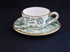 Vtg Coalport Miniature Tea Cup Saucer Green Willow Pattern Bone China England #Coalport