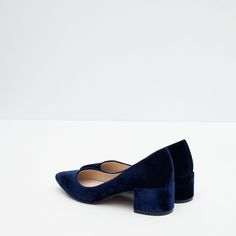 ZARA BLOCK HEEL VELVET SHOES