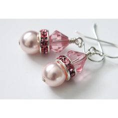 Swarovski Crystal Pearls Earrings, Bicone Beads, Rhinestone Spacers,... ($17) ❤ liked on Polyvore featuring jewelry, earrings, pearl jewelry, earring jewelry, sterling silver bead earrings, beaded jewelry and rhinestone earrings