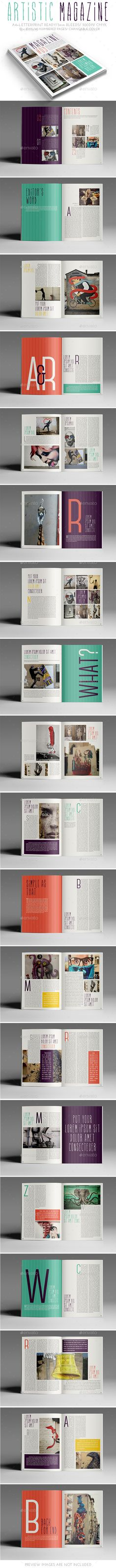 Artistic Magazine — InDesign INDD #clean #modern • Available here → https://graphicriver.net/item/artistic-magazine/9764394?ref=pxcr