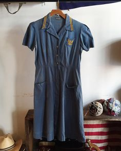 Vintage 40s chambray uniform dress by RaggedyThreads on Etsy