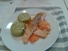Lomo de salmón con medallones de verduras. Rest. Ikea Murcia España