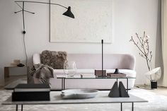 A Swedish space with soft pink and milky hues