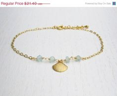 Summer SALE Shell anklet Aqua chalcedony jewelry by SarittDesigns