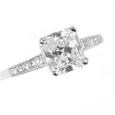 Brides.com: Engagement Rings with Pavé Settings. Style RFC5, radiant ring 1.10ct IIF, $6,850, J. BirnbachSee more radiant-cut engagement rings.