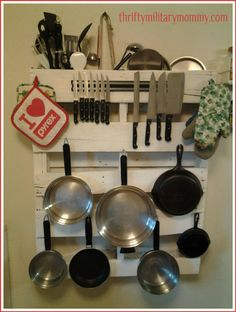 From the kitchen of a clever military mom - a pallet pot and pan holder (try saying that quickly!) Nice way to recycle too.