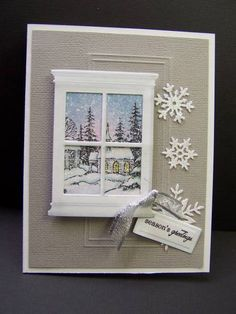 Through the Window by hobbydujour - Cards and Paper Crafts at Splitcoaststampers Madison Window Die Holiday Cards, Christmas Cards, Christmas Windows, Memory Box Cards, Window Cards, Cool Cards, Diy Cards, Creative Cards, Greeting Cards Handmade