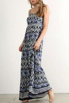 The perfect festival maxi in blue and white. Empire waist adjustable straps and smocked elasticized back give this dress comfort and flexibility. Wear with flip flops or wedges for a super summer staple!  Festival Boho Maxi by Mystree. Clothing - Dresses - Maxi Boston Massachusetts