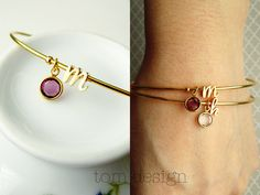 Initial and Birthstone Bangle Bracelet Silver or Gold Dainty