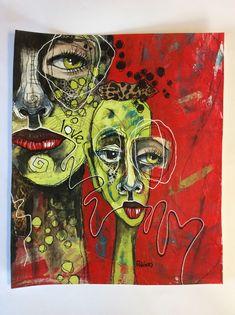 "(SOLD) ""Love People"" 10x12"" Abstract Face Art, Modern Art Paintings, Funky Art, Expressive Art, Hippie Art, True Art, Psychedelic Art, Whimsical Art, Surreal Art"