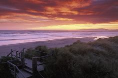 California, Santa Cruz County, Pajaro Dunes, Sunset on beach