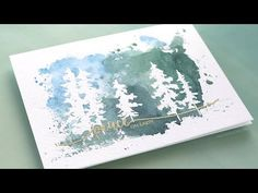 Holiday Card Series 2017 - Day 20 - Masking Fluid Trees - YouTube