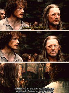 """My wife will never forgive me for foolishly getting myself hung"" - Jamie and Taran MacQuarrie #Outlander"