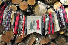 Lumberjack/woodland/camping party, first birthday highchair rag banner, black/red buffalo plaid flannel & burlap birthday decor/photo prop