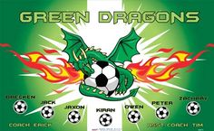 Dragons-Green-46475  digitally printed vinyl soccer sports team banner. Made in the USA and shipped fast by BannersUSA. www.bannersusa.com