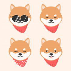 animal animados Cute dog shiba inu with scarf cartoon doodle animal Premium Vector Cute Dog Drawing, Cute Animal Drawings Kawaii, Kawaii Drawings, Cute Drawings, Shiba Inu, Cute Dog Cartoon, Kawaii Doodles, Dog Logo, Cute Chibi