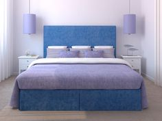 """I don't really love the textiles (not THAT much of a denim fan), but what I DO love is the idea of hanging lights over the nightstands to free up surface space.  Although anyone who knows me, knows I don't need anymore """"catch-all"""" areas in my life....."""