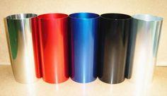 GEAR/C(ギア)旧型BW'S50 スポチャン サイレンサーは4色のアルマイト(シルバー・ブラック・ブルー・レッド)と鏡面のステンレス巻きから選択可能
