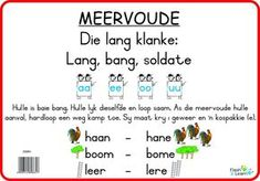 Meervoude (Lang Klanke) Available in Afrikaans only Printable Preschool Worksheets, 1st Grade Worksheets, New Classroom, Classroom Themes, Speech Language Therapy, Speech And Language, Afrikaans Language, Phonics Song, Abc For Kids