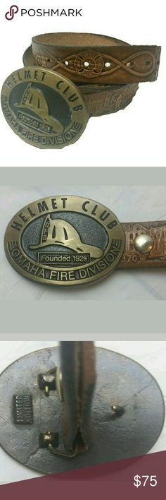 "Firefighter's History Belt & Helmet Club Buckle Handmade Signed Mens Leather Fireman's History Timeline Belt &  Limited Edition Brass Omaha Helmet Club Buckle  Signed K. Kuzack '83   STYLE: Fireman history time line and Helmet Club  COLOR: Belt:brown Buckle: Brass  SIZE: Belt:38""-43"" Buckle:3""   CONDITION: ***See pics for condition*** No rips,tears,or fraying. Shows some wear near end.   MEASUREMENTS laying flat not stretched:  ***See pictures for exact .***  Belt:38""-43"" Buckle:3"" Homemade…"