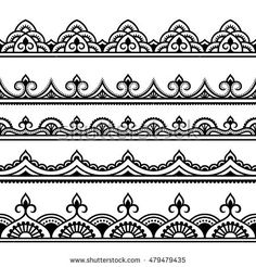Set of seamless borders for design, application of henna, Mehndi and tattoo. Decorative pattern in ethnic oriental style. Set of seamless borders for design, application of henna, Mehndi and tattoo. Decorative pattern in ethnic oriental style. Mandala Art, Mandala Design, Mandala Drawing, Mandala Pattern, Mandala Tattoo, Abstract Pattern, Lace Drawing, Henna Mandala, Henna Tatoo