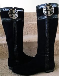 Tori Burch Black Knee High Suede Boots by loveusati on Etsy
