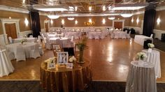 A Wedding Shower held in our Grand Ballroom for around 150 guests with a platter buffet. This stunning shower features white spandex chair covers, white linens, silver and gold sequin accents through out and our custom cocktail fountain station!