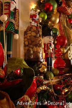 Holiday mantel with traditional nuts & nutcrackers
