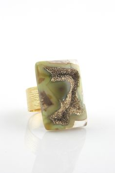 Green Agate Druzy Ring