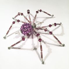 Sasha - purple and white glass beaded spider goth sun catcher - Halloween decoration - Christmas ornament by MossandStoneStudio on Etsy