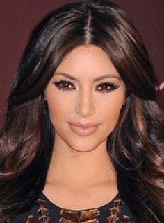 Kim Kardashian natural highlights on brown hair...I think I want to do this color with my hair?!