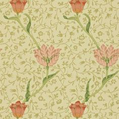 Bring a femme flair to the room with the Garden Tulip wallpaper. This pattern was designed by Arts & Crafts textile designer William Morris in 1885 and features a simple - yet luxe - pattern of spiraling tulips layered upon a background of intertwined Old Wallpaper, Fabric Wallpaper, William Morris, Art Nouveau Wallpaper, Morris Wallpapers, Painted Rug, Designer Wallpaper, Wallpaper Designs, Wallpapers