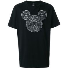 Marcelo Burlon Mickey Mouse Print Cotton T-Shirt ($320) ❤ liked on Polyvore featuring men's fashion, men's clothing, men's shirts, men's t-shirts, black, mens summer t shirts, mens short sleeve shirts, men's snake print shirt, men's cotton short sleeve shirts and mens slim shirts