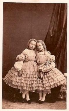 Girls in Frilly Dresses (I apologize for the bad quality! Vintage Children Photos, Vintage Girls, Vintage Pictures, Old Pictures, Vintage Images, Old Photos, Victorian Photos, Antique Photos, Vintage Photographs