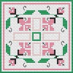 Dimensions Cross Stitch Patterns Free   chart floral biscornu colors 4 dmc stitches 50 x 50 dimensions 3 57 x