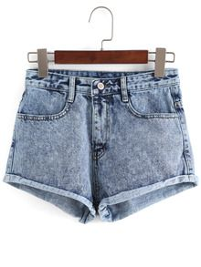 Shorts en Denim taille haute -bleu