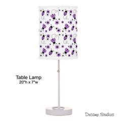 PURPLE LADYBUG LAMP Girl Table Night Light Lampshade Decor