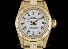 Rolex Yellow Gold Oyster Perpetual White Roman Dial Non-Date Ladies Box & Papers 67198 Used Rolex, Dating Women, Rolex Oyster Perpetual, Vintage Rolex, Patek Philippe, Audemars Piguet, Breitling, Oysters, Cartier