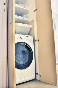 Ideas Bath Room Small Washing Machine Laundry Cabinets For 2019 Laundry Cupboard, Utility Cupboard, Laundry Cabinets, Bathroom Cupboards, Laundry Room Bathroom, Small Bathroom, Bath Room, Bathroom Ideas, Bathroom Wainscotting
