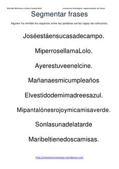 Segmentacion de-frases[1] Spanish Worksheets, First Grade Writing, Spanish Class, Occupational Therapy, Toddler Activities, Grammar, Acting, Homeschool, It Cast