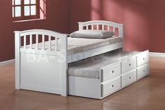 San Marino Captain Bed with Trundle in White by Acme Furniture